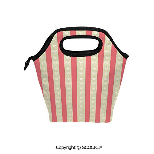 (Lightweight Portable Picnic tote lunch Bags Tile of Carmine and Pale Orcher Stripes with Heart Shapes Romantic Illustration Art lunch bag for Employee student Worker. )