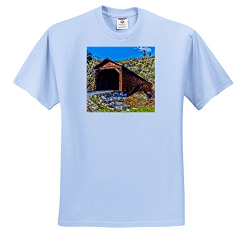 3dRose Danita Delimont - Bridges - Bridgeport Covered Bridge Over The Yuba River, Penn Valley, California - T-Shirts - Light Blue Infant Lap-Shoulder Tee (12M) - Yuba Blue