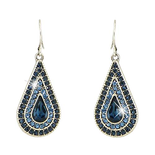 Silver-Plated Dazzling Austrian Crystal Teardrop Victorian Style Leverback Dangle Earrings (Blue)