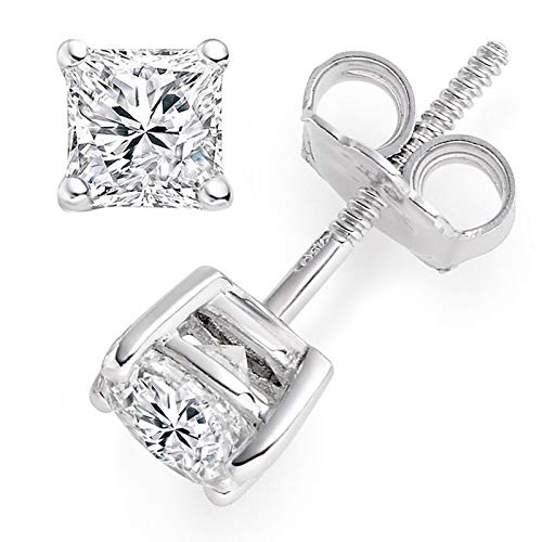 0.5 ct Brilliant Princess Cut Solitaire White Lab Created VVS1 Ideal Sapphire Anniversary gift Stud Earrings Real Solid 14k White Gold Screw Back, ClaraPucci from Clara Pucci