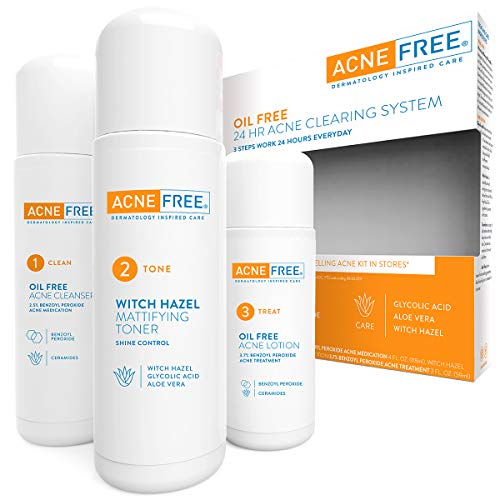 AcneFree 3 Step 24 Hour Acne Treatment Kit - Clearing System w Oil Free Acne Cleanser, Witch Hazel Toner, & Oil Free Acne Lotion - Acne Solution w/ Benzoyl Peroxide for Teens and Adults - Original (Best Face Wash For Chin Acne)