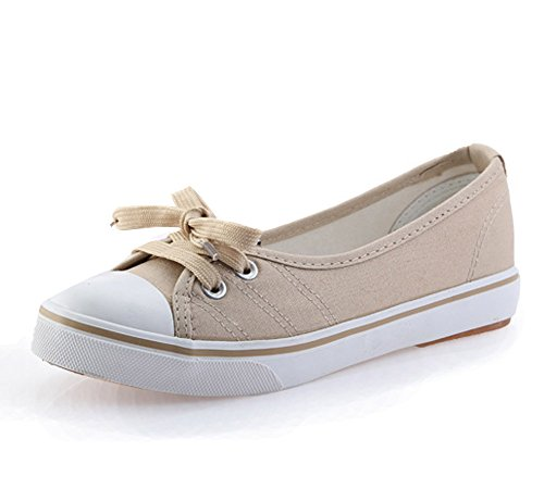 marrón Redonda Punta Chicas Espadrilles Plano Moda Minetom Zapatos Lona Zapatos Tacón Ocio Mujer R7xwg