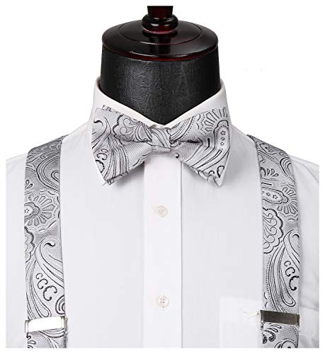 HISDERN Paisley 6 Clips Suspenders & Bow Tie and Pocket Square Set Y Shape Adjustable Braces Gray]()