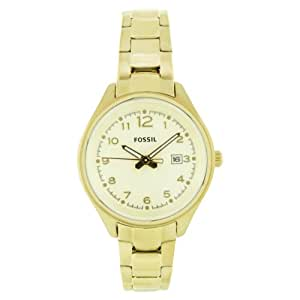 Fossil Women's AM4365 Stainless Steel Analog with Gold Dial Watch