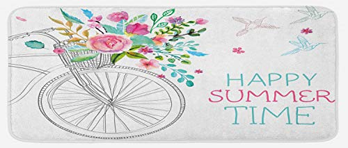 Lunarable Romantic Kitchen Mat, Sketchy Hand Drawn Vintage Bike with Spring Flowers in Basket and Quote Artwork, Plush Decorative Kitchen Mat with Non Slip Backing, 47 W X 19 L Inches, Multicolor