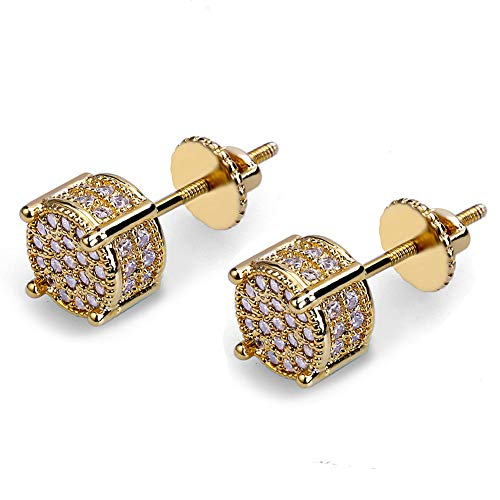 Iced Out Cubic Zirconia Screw Back 18k Gold Plated Round Stud Earrings For Men and Women Hypoallergenic Earring Micropave Hip Hop Jewelry SENTERIA (Hip Earrings)