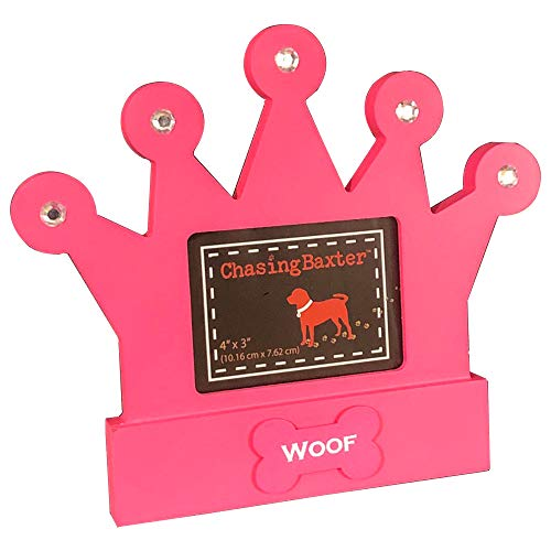 Chasing Baxter Picture Frame Pink Crown Dog Woof 4 by 3
