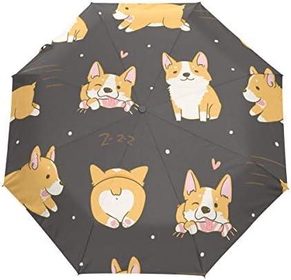 Akiraki 折りたたみ傘 レディース 軽量 ワンタッチ 自動開閉 メンズ 日傘 UVカット 遮光 コーギー いぬ 犬柄 ハート ブラウン かわいい 可愛い 折り畳み傘 晴雨兼用 断熱 耐強風 雨傘 傘 撥水加工 紫外線対策 収納ポーチ付き