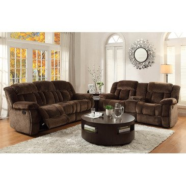 Homelegance Laurelton 2 Piece Living Room Set in Chocolate Microfiber ()