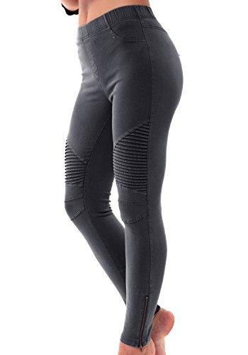 LAINAB Womens Skinny Pleated Ankle Zipper Moto Leggings Joggers Pants Black L