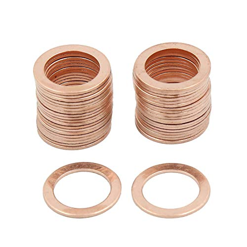 X AUTOHAUX 16mm Inner Dia Copper Crush Washers Car Flat Sealing Plate Gaskets Rings 40pcs by X AUTOHAUX (Image #3)