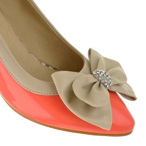 Females M US WeenFashion and Pointed Closed 5 Rhinestone Toes Bowknot 5 Solid Pumps B Stiletto PU with Pink qCdCTwa