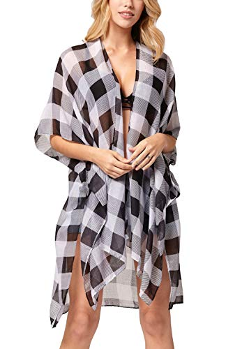 Gingham Wrap - Swimsuit Cover ups for Women - Beach Kimono for Swimwear Bikini Bathing Suits Summer Coverup Dresses - Fireside Chats