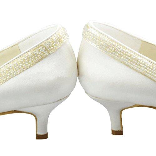 Minishion Filles Femmes Slip Sur Bout Fermé Satin Talon Bas Robe De Mariée De Mariage Pompes Chaussures Ivoire-5cm Talon