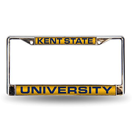 NCAA Kent State Golden Flashes Laser Cut Inlaid Standard Chrome License Plate Frame, ()