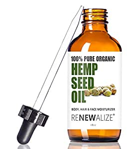 Renewalize Certified Organic Hemp Seed Cleansing Oil - Face Cleanser and Moisturizer | 100% Pure Cold Pressed and Unrefined | Best Daily, Night time, Facial Regimen for Acne Pimple Prone Skin 4oz