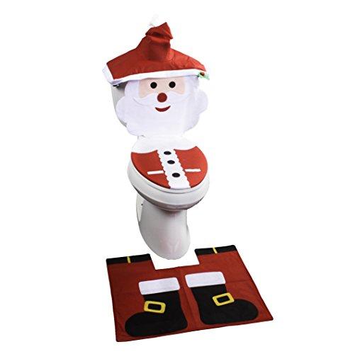 Santa Toilet Seat Cover and Rug Set - 4 Pcs Bathroom Christmas Decorations Set (Santa Boots)]()