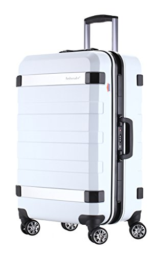 Ambassador Luggage Designer 20 Inch Carry On Luggage Fashion Aluminum Frame Polycarbonate Spinner Suitcase White by Ambassador