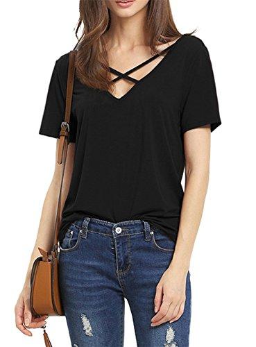 Rjxdlt Women's Criss Cross Front Tops Deep V Neck Short Sleeve Sexy T Shirts for Woman