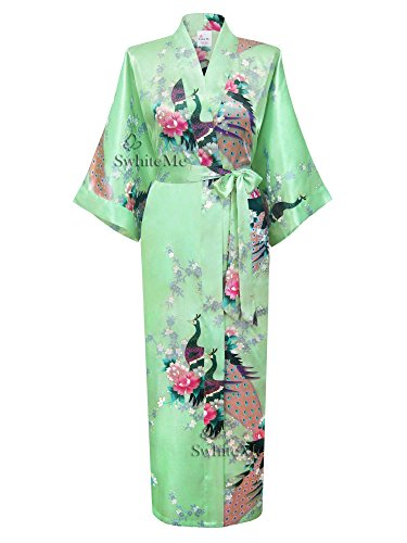 Mint Long (Swhiteme Women's Kimono Robe, Long, One Size, Peacock, Mint, KPL01B)