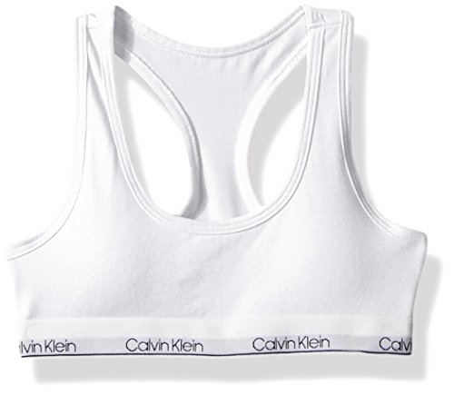 Calvin Klein Girls' Kids Modern Cotton Molded Bralette with Cookies Classic White ()