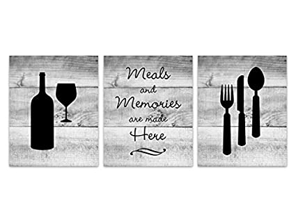 Amazon Com Black And White Rustic Kitchen Art Fork And Spoon Wall