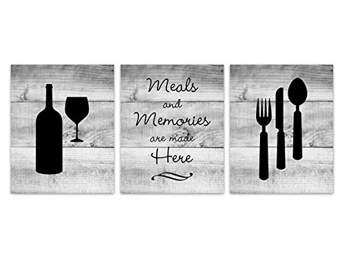 Black and White Rustic Kitchen Art, Fork and Spoon Wall Decor, Wine Glass Art - HOME144 ()