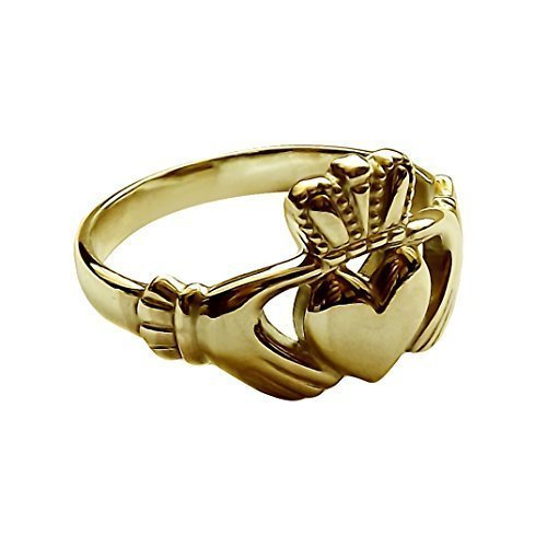 9ct Yellow Gold Claddagh Ring 11.8mm Ladies Irish Made Size L