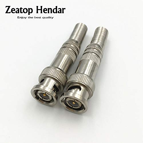 (Davitu 10Pcs BNC Male Connector for RG 59 Coaxical Crimp Cable Screwing CCTV Camera System Solder Less Twist Spring Surveillance)