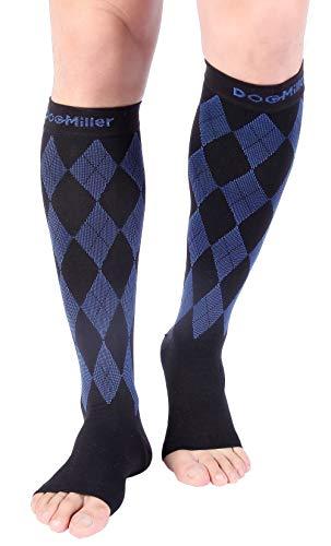 Doc Miller Open Toe Compression Socks 1 Pair 20-30mmHg Stockings (BlackBlue, M)