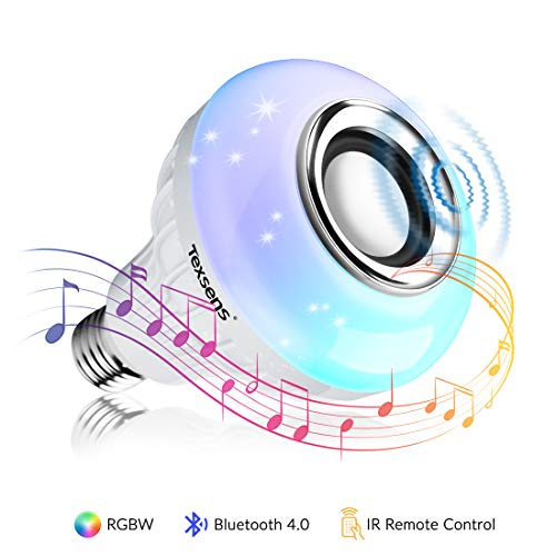 Texsens LED Light Bulb with Integrated Bluetooth Speaker, 6W E26 RGB Changing Lamp Wireless Stereo Audio with 24 Keys Remote Control