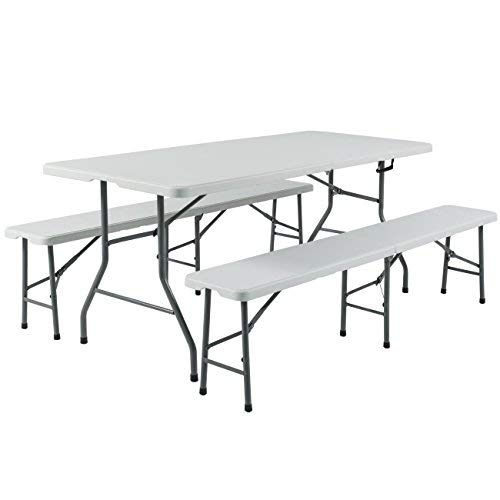 Incredible Best Choice Products 3Pc Portable 6 Folding Table And Bench Set Combo Resin Machost Co Dining Chair Design Ideas Machostcouk