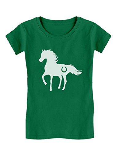 Tstars - Gift for Horse Lover - Love Horses Girls' Fitted Kids T-Shirt M (7-8) Green ()
