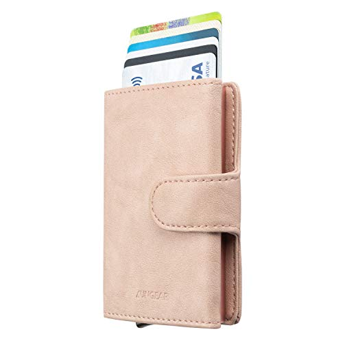 LUNGEAR Credit Card Holder Leather Slim Wallet RFID Blocking Pop Up Aluminum Card Case with Banknote for Men and Women (Mistyrose)