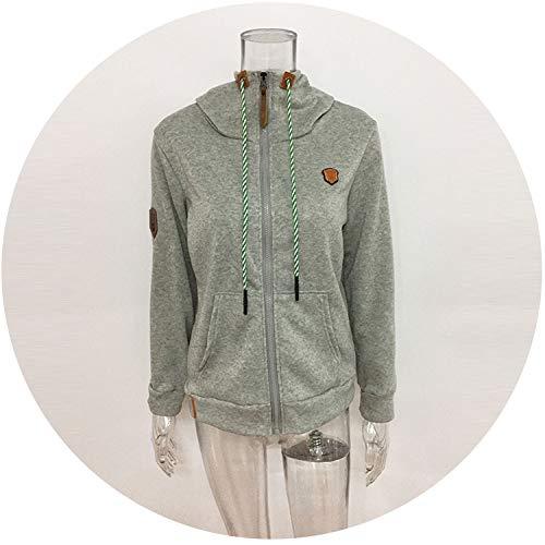 Sex Appealing Women Loose Zipper Hoodies Sweatshirts Jacket Pocket Oversized Hooded Tracksuit Plus Size 5XL,Light Grey,L