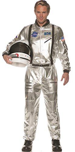 Silver Suit Costume - Underwraps Men's Silver Astronaut Jumpsuit Costume,