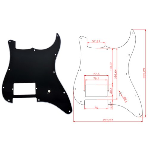 Kmise A2120 1 Piece Black 3-Ply Pickguard for Fender Strat Guitar Replacement