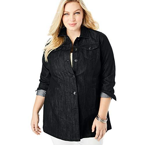 Roamans Women's Plus Size Long Denim Jacket - Black, 22 W ()
