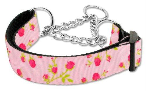 Pet Bandana Collar Nylon - Mirage Pet Products Roses Nylon Ribbon Martingale Collar for Pets, Medium, Light Pink