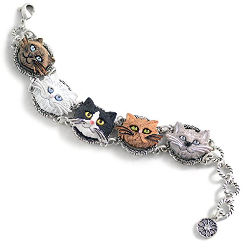 Cat Lover Faces Silver Kitty Bracelet - Siamese, Persian, Tuxedo, Tabby, Gray shorthair