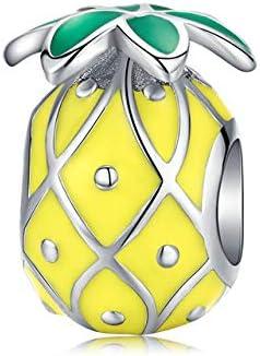 MZNSQB 925 joyería de Plata esterlina Esmalte Verde Aguacate Encanto para Pulsera de Plata Original 3 mm joyería de Mujer HaciendoBSC128
