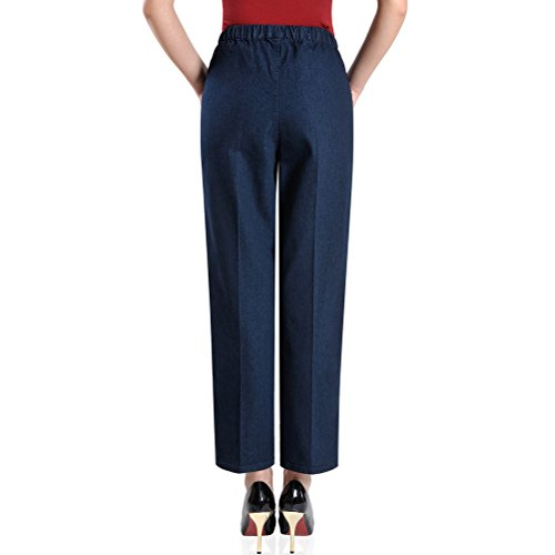 XXXXXL Zhhlaixing Embroidery Women blue aged Mother Elastic Jean Middle Pantalon Straight Trousers Haute Taille Pants Femme Waist H4TWSR4