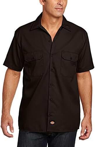Dickies Men's Short Sleeve Work Shirt (2 Pack - XX-Large, Dark Brown)