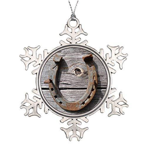 (EvelynDavid Snowflake Ornament Personalised Christmas Tree Decoration Good Luck Horseshoe Badge Name Tag Vintage Snowflake Ornament)