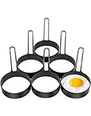 6 Pack Egg Ring, Stainless Steel Round Egg Cooking Rings Non-Stick Frying Egg Maker Molds