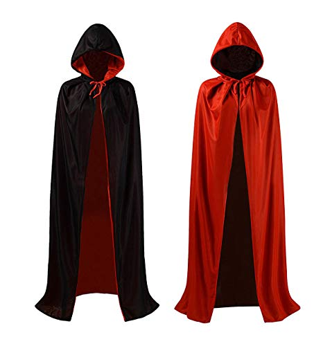 JYOHEY Halloween Cloak with Hood Double-Decker Hooded Cape Unisex Hood Costume ()