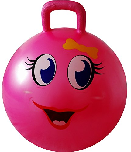 AppleRound Space Hopper Ball with Air Pump: 20in/50cm Diameter for Ages 7-9, Hop Ball, Kangaroo Bouncer, Hoppity Hop, Jumping Ball, Sit & Bounce (Pink Girl)