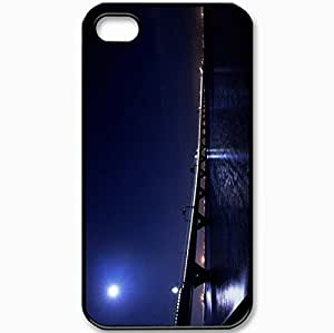 Protective Case Back Cover For iPhone 4 4S Case Bridge Night Moon Light Lights Black