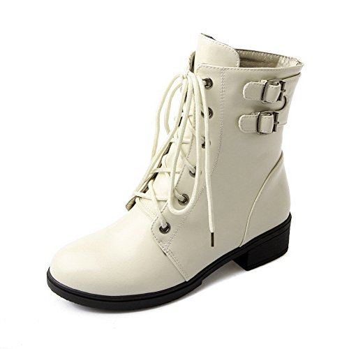 AgooLar Women's Low-Heels Solid Lace up PU Round Toe Boots Beige