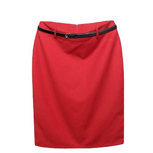 Skirt Suit Red Wool (Freely Womens Fall Winter High Waist Work Fall High Wool-Blend Mini Pencil Skirt Red XL)